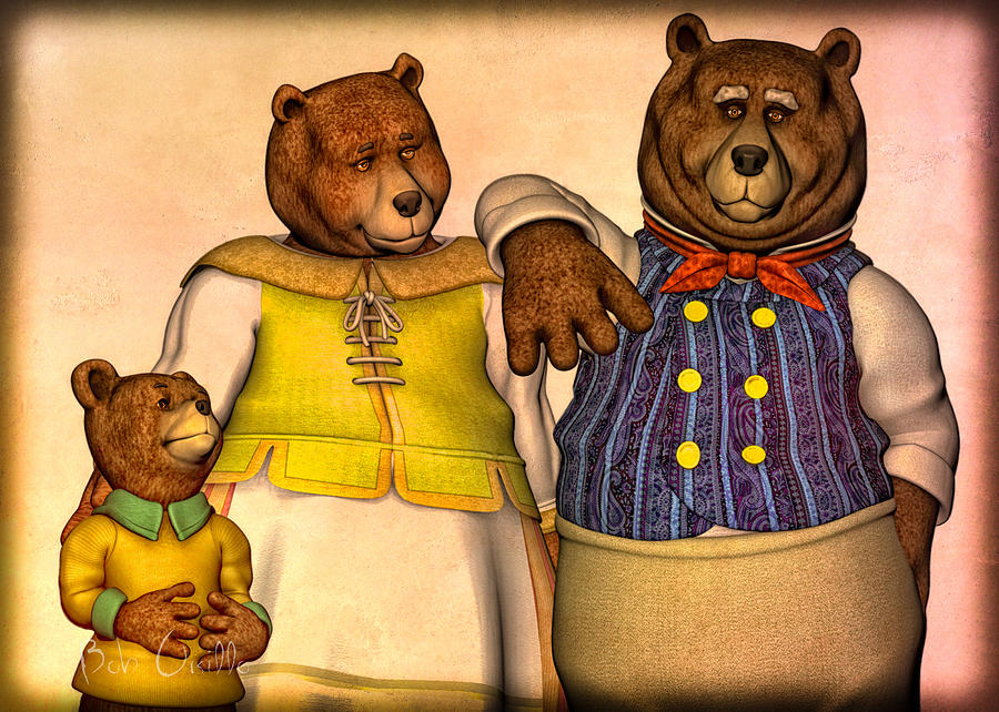 Three Bears Family Portrait Digital Art  - Three Bears Family Portrait Fine Art Print