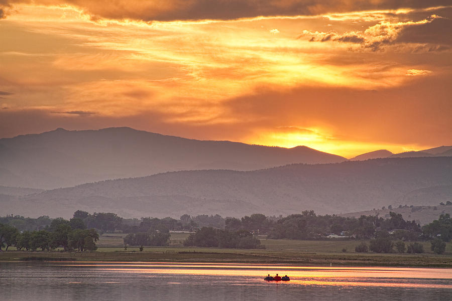 Colorado Photograph - Three Belly Boats Enjoying The View by James BO  Insogna