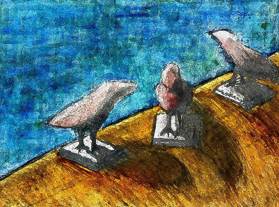 Three Birds Blue Mixed Media
