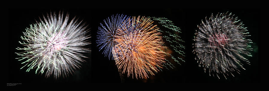 Three Bursts Of Fireworks Four July Two K Ten Photograph  - Three Bursts Of Fireworks Four July Two K Ten Fine Art Print