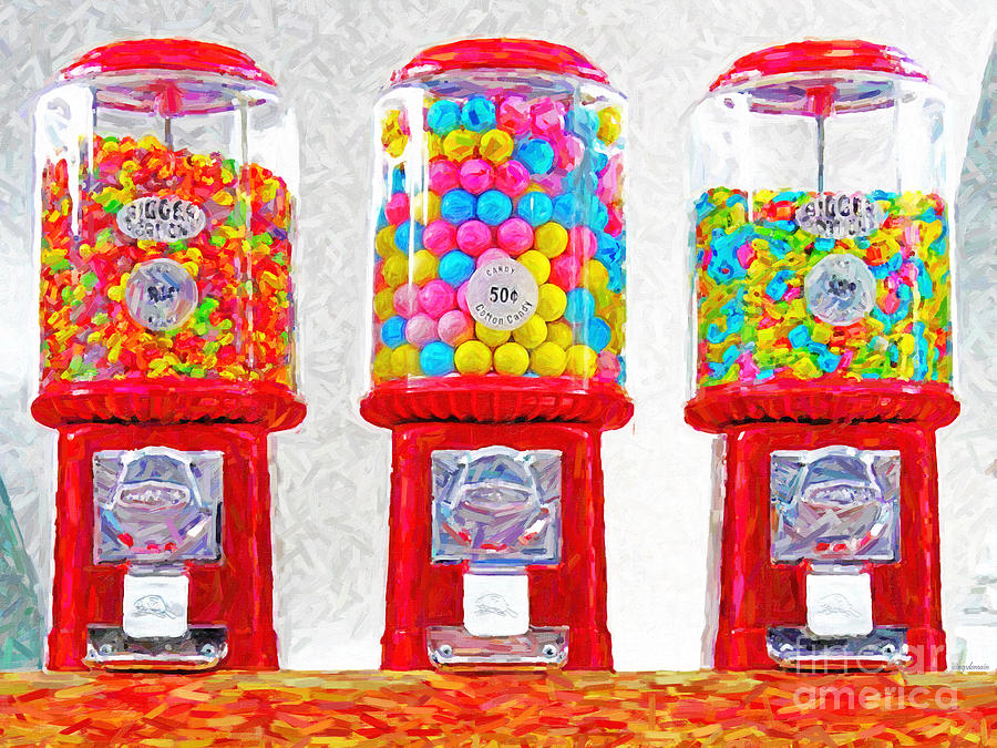 Three Candy Machines Photograph