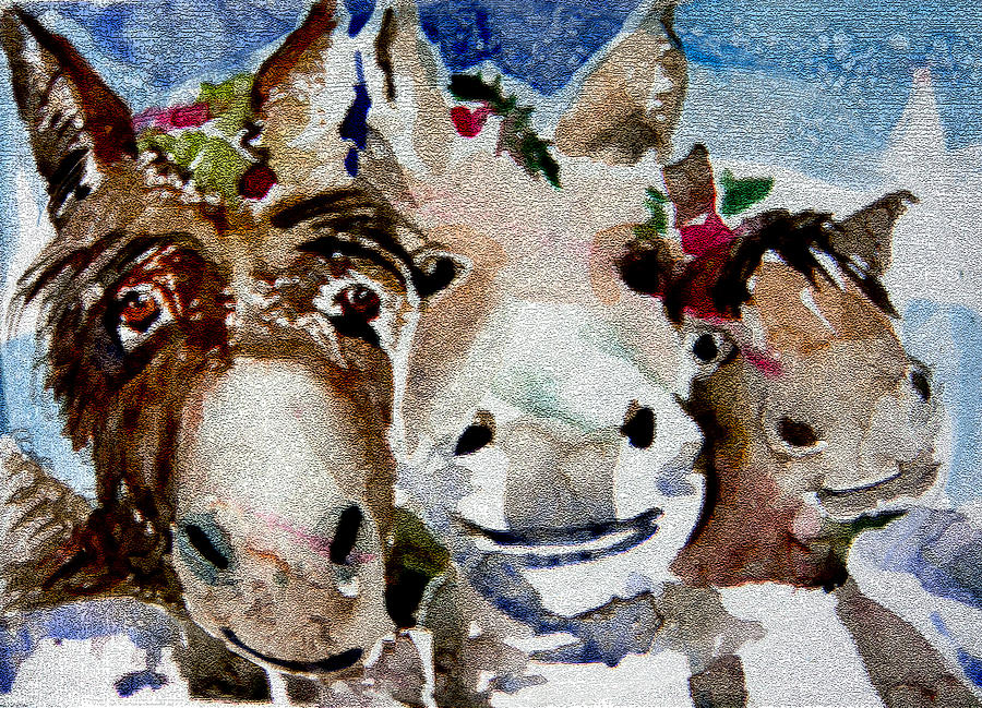 Three Christmas Donkeys Painting  - Three Christmas Donkeys Fine Art Print