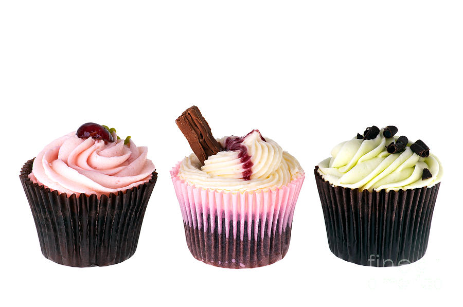 Three Cupcakes Photograph  - Three Cupcakes Fine Art Print