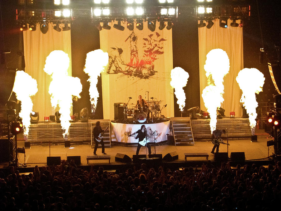 Three Days Grace On Fire Photograph