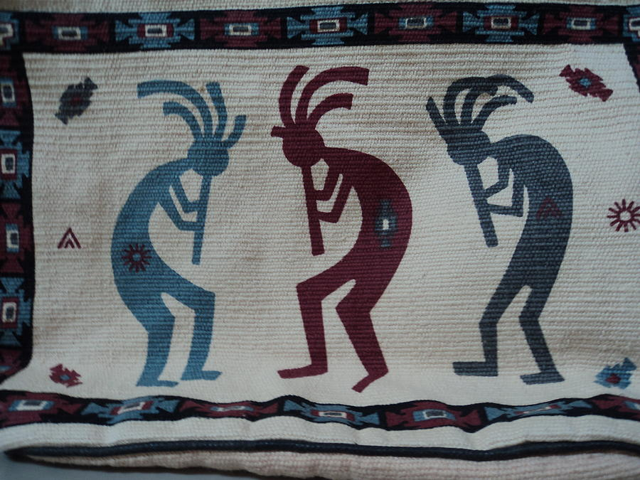 Three Flute Players Kokopelli Style Mixed Media  - Three Flute Players Kokopelli Style Fine Art Print