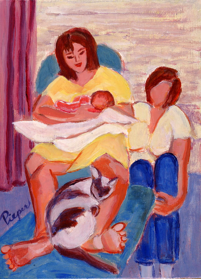 Daughter Painting - Three Generations by Elzbieta Zemaitis