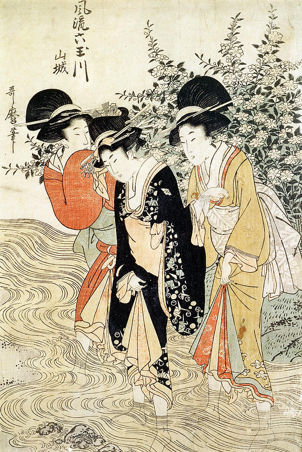 Three Girls Paddling In A River Painting