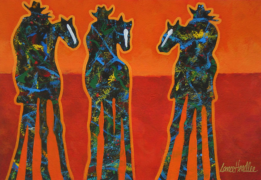Three In Orange Painting  - Three In Orange Fine Art Print