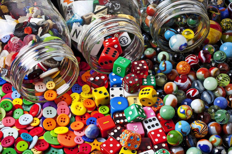 Three Jars Of Buttons Dice And Marbles Photograph  - Three Jars Of Buttons Dice And Marbles Fine Art Print
