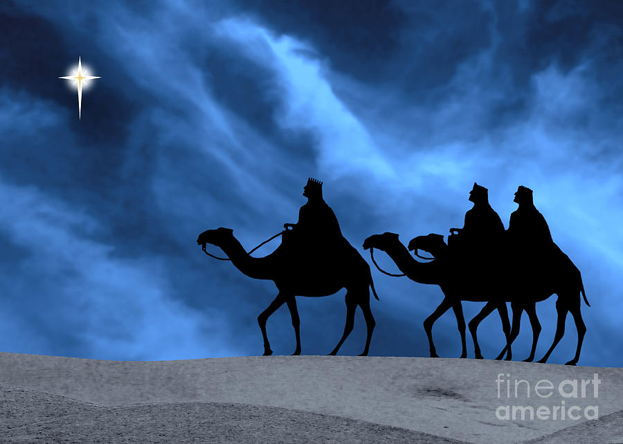 Three Kings Travel By The Star Of Bethlehem - Midnight Photograph  - Three Kings Travel By The Star Of Bethlehem - Midnight Fine Art Print