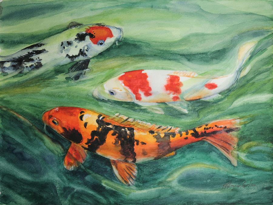 Three koi by patricia allingham carlson for Koi prints for sale
