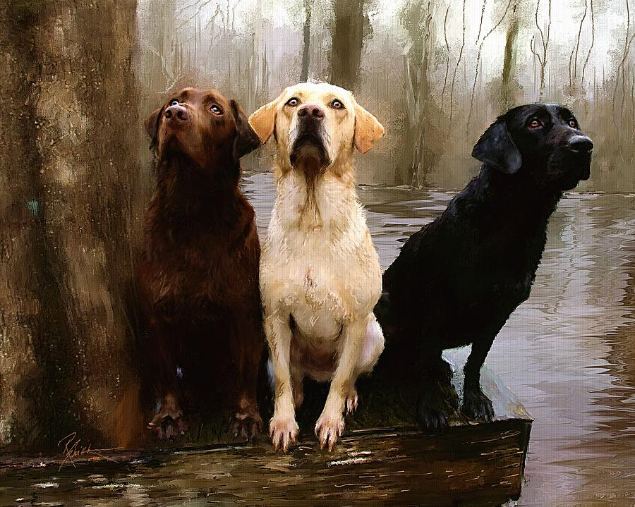 Three Labs Painting