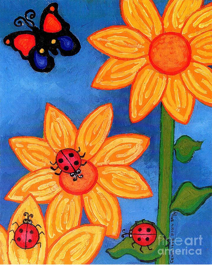 Three Ladybugs And Butterfly Painting  - Three Ladybugs And Butterfly Fine Art Print