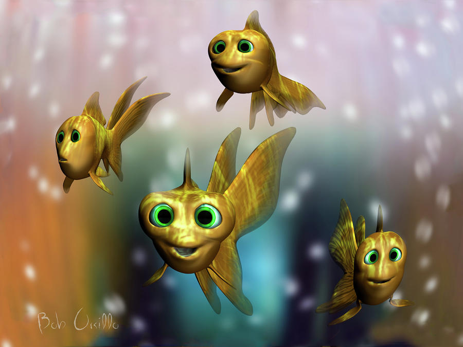 Three Little Fishies And A Mama Fishie Too Digital Art