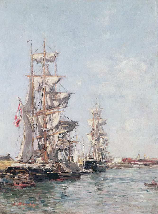 Three-masted Boats At The Quay In Deauville Harbour Painting