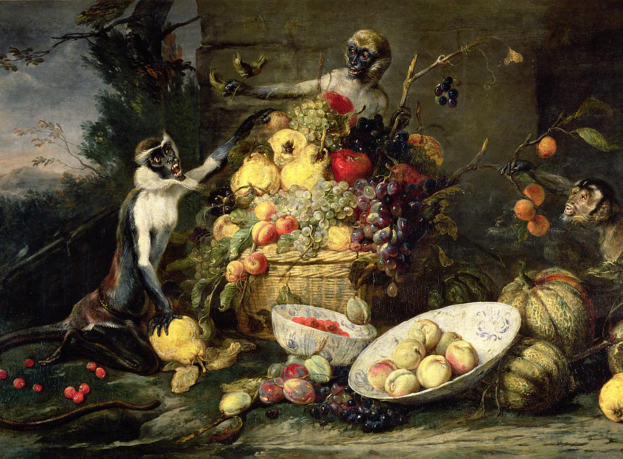 Three Monkeys Stealing Fruit Painting By Frans Snyders