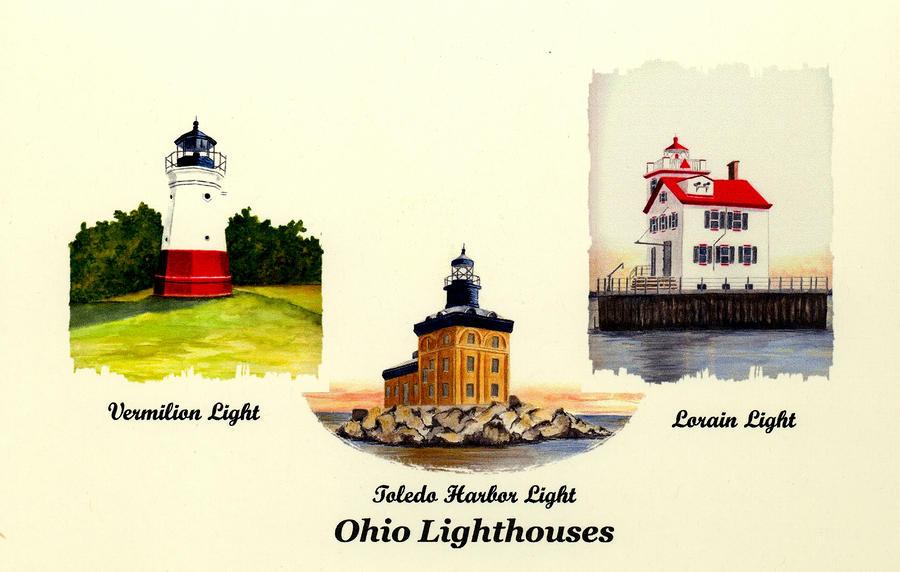 Three Ohio Lighthouses Painting