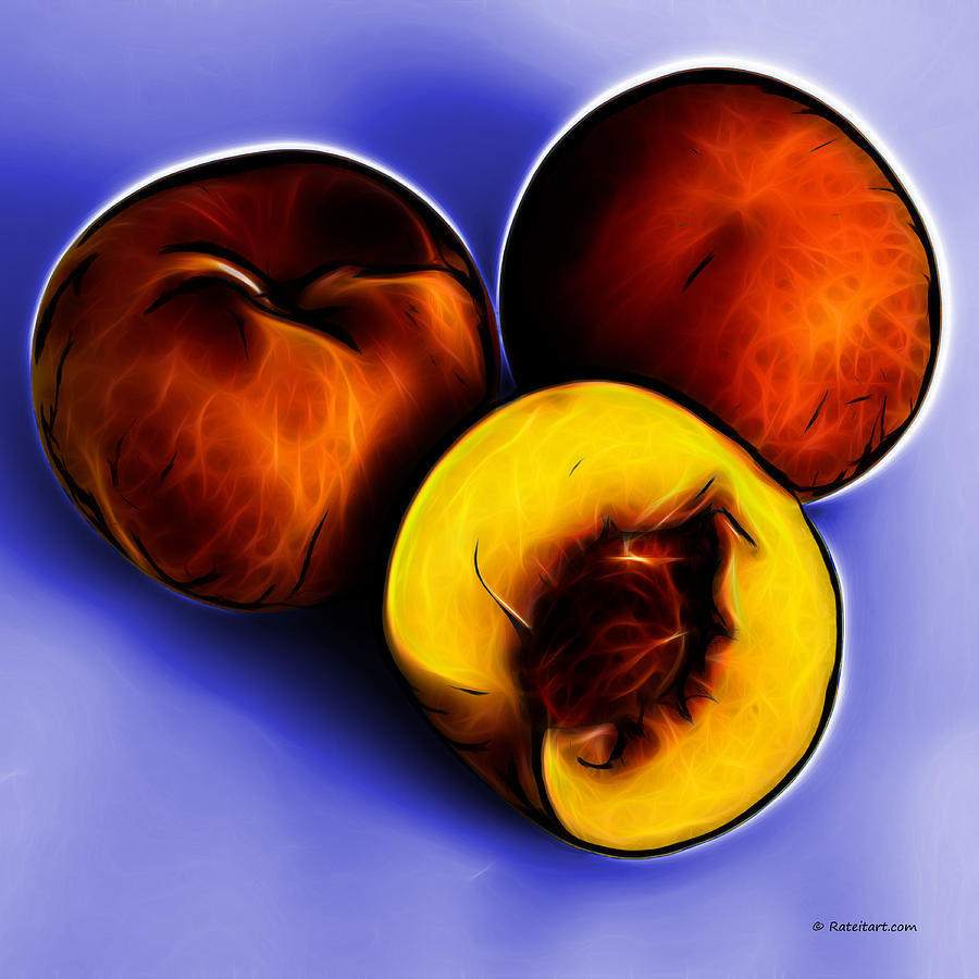Three Peaches - Blue Digital Art  - Three Peaches - Blue Fine Art Print
