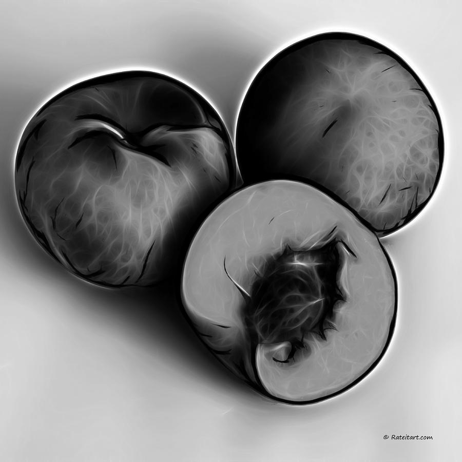 Three Peaches - Greyscale Digital Art  - Three Peaches - Greyscale Fine Art Print