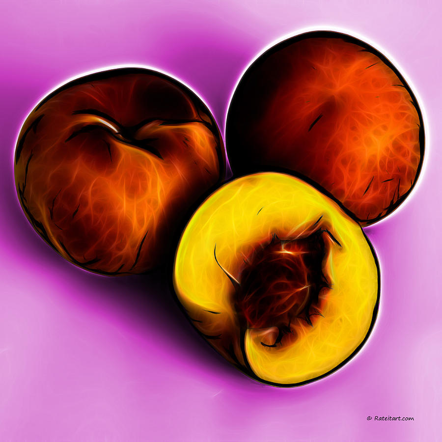 Three Peaches - Magenta Digital Art  - Three Peaches - Magenta Fine Art Print