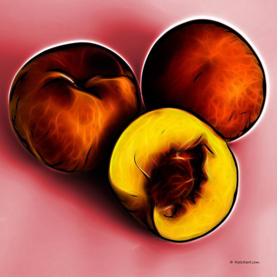 Three Peaches - Red Digital Art