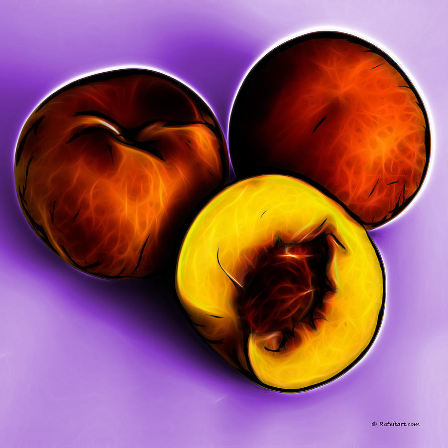 Three Peaches - Violet Digital Art  - Three Peaches - Violet Fine Art Print