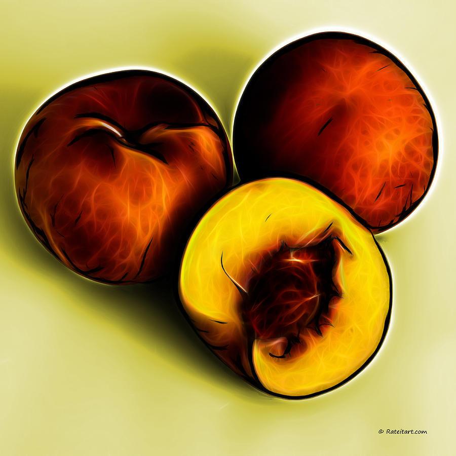 Three Peaches - Yellow Digital Art