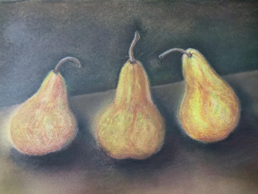 Three Pears Pastel  - Three Pears Fine Art Print