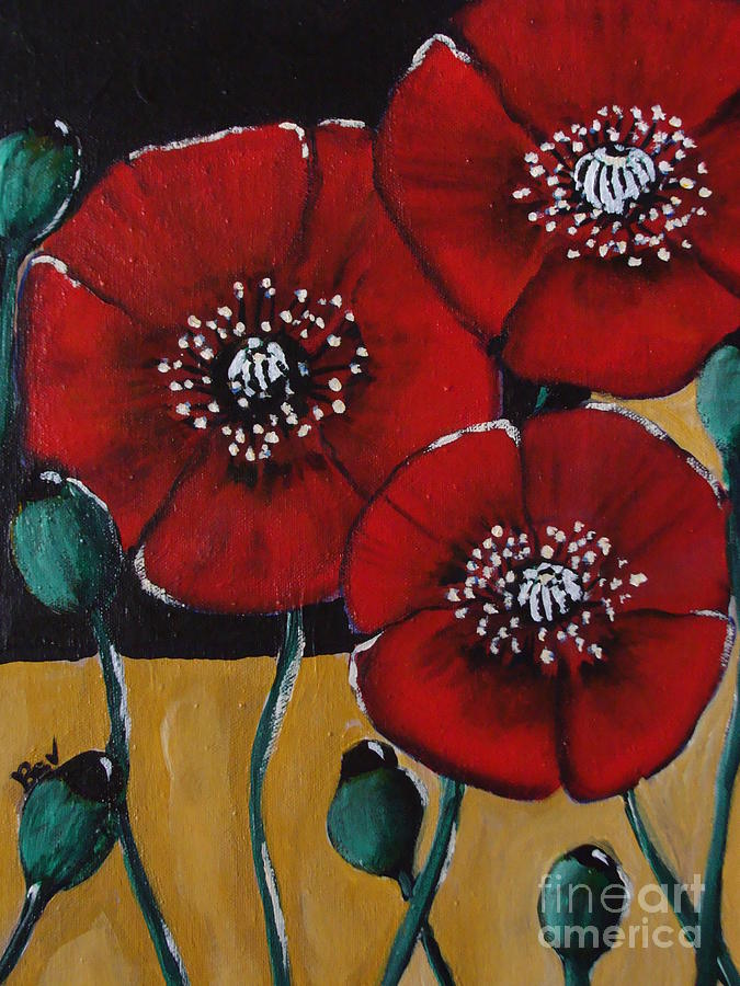 Three Poppys Painting  - Three Poppys Fine Art Print
