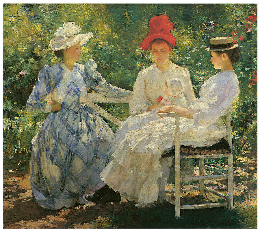 three sisters painting by edmund charles tarbell