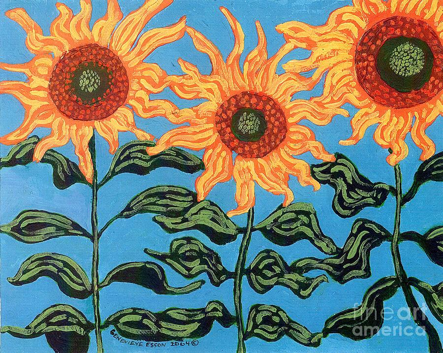 Three Sunflowers II Painting  - Three Sunflowers II Fine Art Print