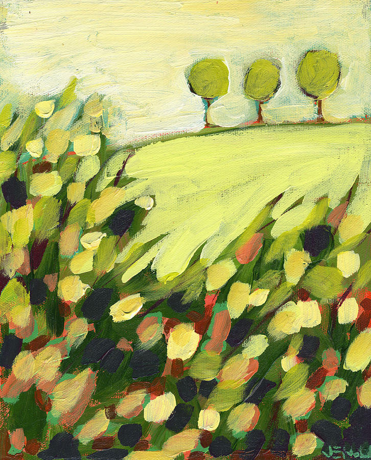 Three Trees On A Hill Painting  - Three Trees On A Hill Fine Art Print