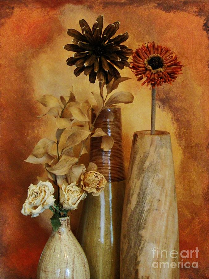 Three Vases Of Dried Flowers Photograph