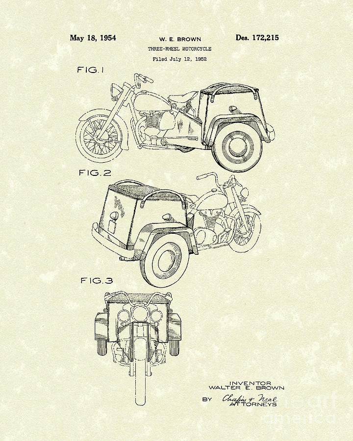 Three Wheel Motorcycle 1954 Patent Art  Drawing