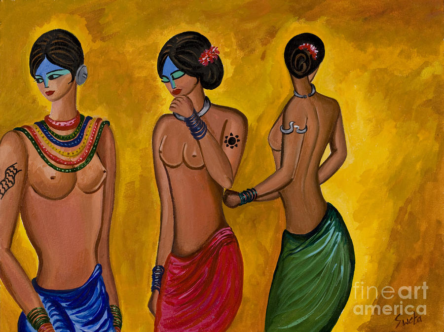 Three Women - 1 Painting  - Three Women - 1 Fine Art Print
