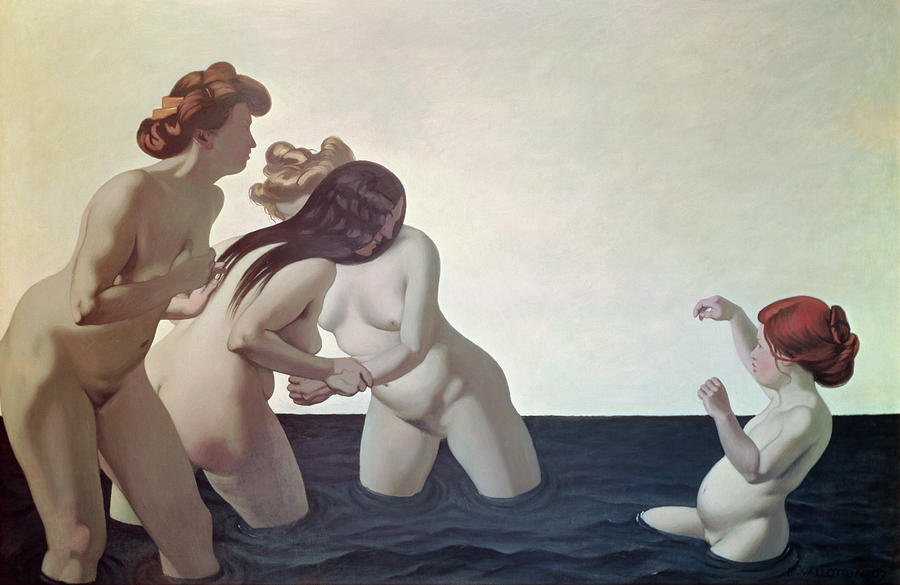Three Women And A Young Girl Playing In The Water Painting