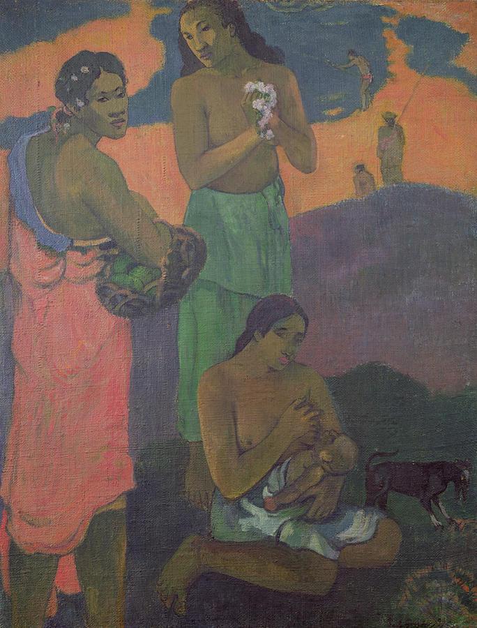 Three Women On The Seashore Painting