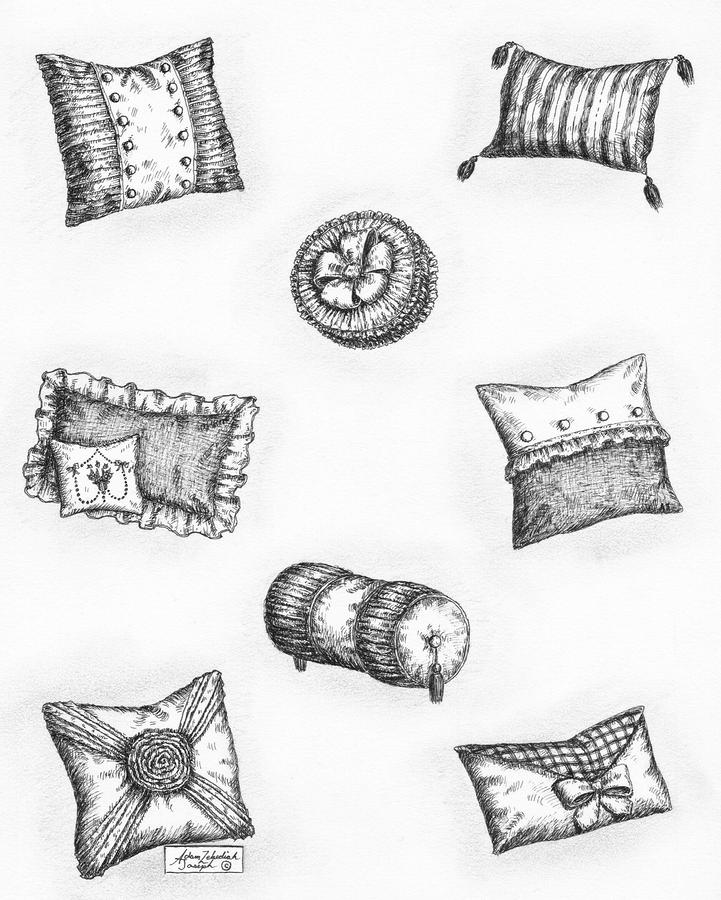 Throw Pillows Drawing  - Throw Pillows Fine Art Print