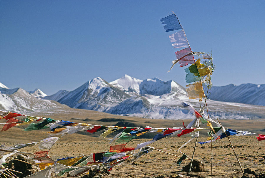 Tibetan Buddhist Prayer Flags Atop Pass Photograph