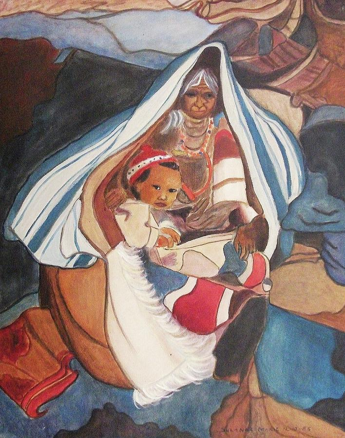 Tibetan Grandmother And Baby Painting