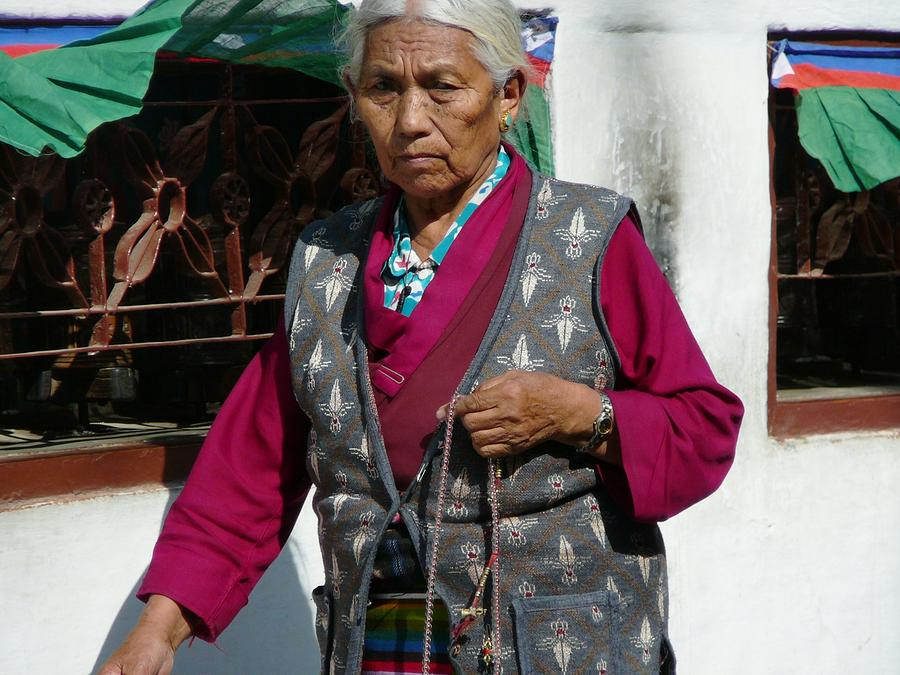 Tibetan Grandmother In Meditation Photograph