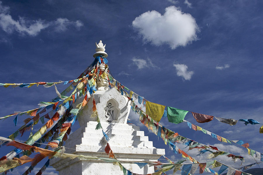 Tibetan Stupa With Prayer Flags Photograph  - Tibetan Stupa With Prayer Flags Fine Art Print