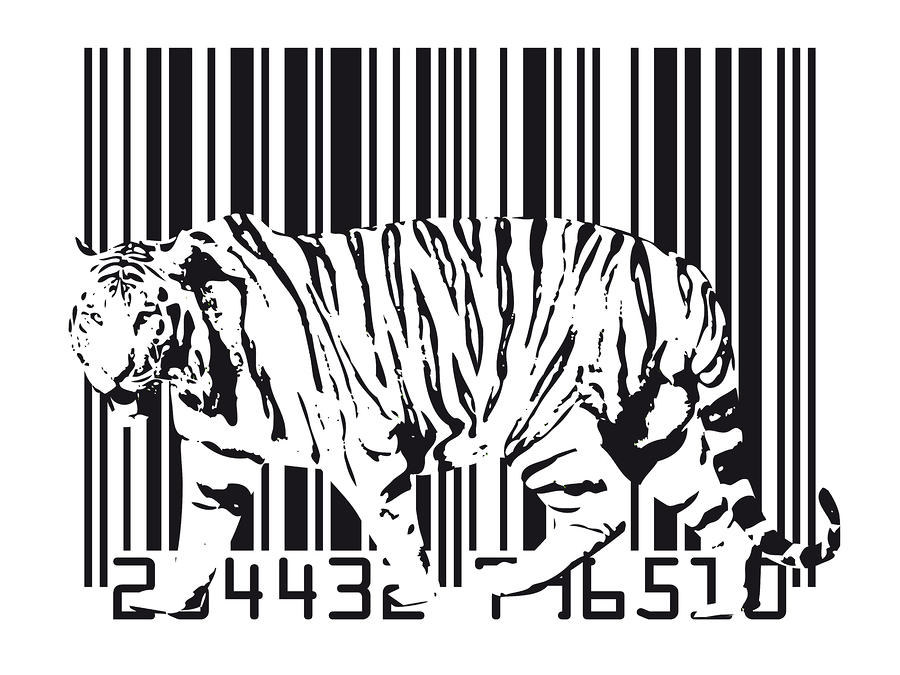 Tiger Barcode Digital Art
