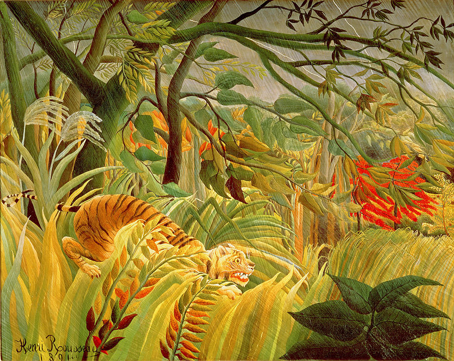 Tiger In A Tropical Storm Painting