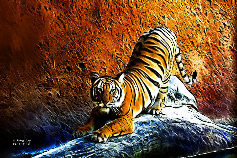 Tiger Pounce -  Fractal - S Digital Art  - Tiger Pounce -  Fractal - S Fine Art Print
