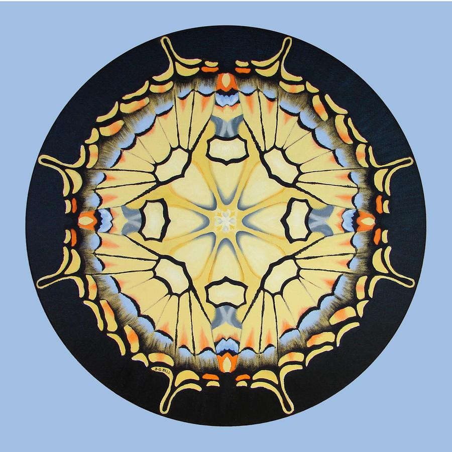Tiger Swallowtail Mandala On Blue Painting