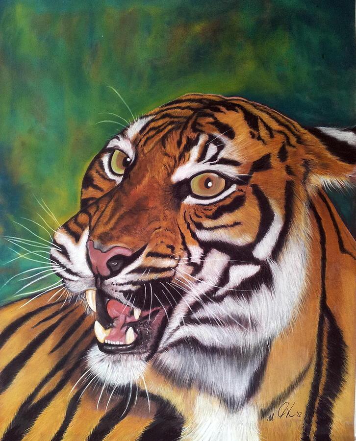 Tiger Painting - Tiger by Ursula  Thuleweit Laranjeiro