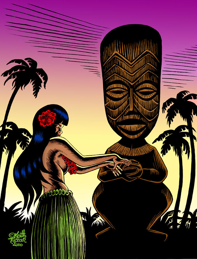 Tiki Sunset Drawing  - Tiki Sunset Fine Art Print
