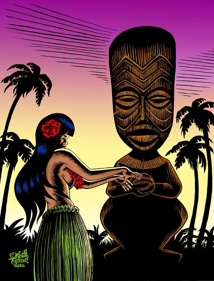 Tiki Sunset Drawing