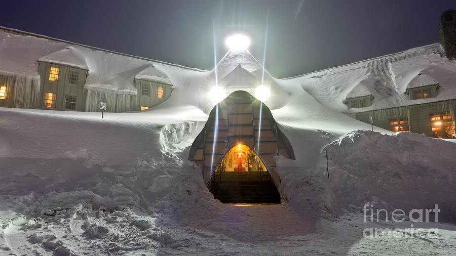 Timberline Lodge Entry Mt Hood Snowdrifts Photograph